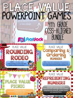 4th Grade PLACE VALUE PowerPoint Games Bundle - This bundle contains 4 CCSS-aligned PowerPoint games that will motivate your students to practice place value skills all year long. They are aligned with the 4th grade common core math standards. The games are self-checking and work great in small or whole groups. $