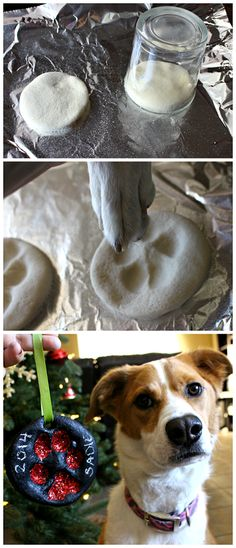 DIY Salt Dough Puppy Paw Print Christmas Ornaments #Recipe #Chalkboard paint | CraftyMorning.com
