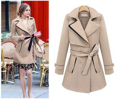 2014 Winter Casual Purity Patchwork Coats Fashion for Women Girl Ladies Coats For Women, Jackets For Women, Belted Coat, Trench Coats, Winter Fashion, Fashion Coat, Ol Fashion, Fashion Clothes, Fashion Ideas