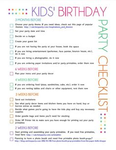 Kid's Birthday Party Checklist