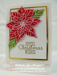 handmade christmas card ... Joyful Christmas ... poinsettie white emboss on red and green papers .... cut out and layered ... gold mat and embossed sentiment ... beautiful card ... Stampin' Up!