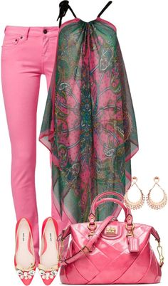 summer chiffon top with colored jeans pink and green Good for an apple shape.