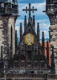 The shiled of the Church of Our Lady before Týn, Prague, Czechia #architecture #church #czechia