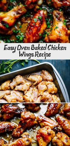 Easy Oven Baked Chicken Wings Recipe - Chicken Recipes - #ovenbakedchickenthighs - Easy Oven Baked Chicken Wings Recipe - Chicken Recipes... Easy Baked Chicken Wings, Easy Chicken Wing Recipes, Crispy Baked Chicken Thighs, Juicy Baked Chicken, Baked Greek Chicken, Baked Chicken Breast, Baked Chicken Recipes, Recipe Chicken, Greek Chicken Thigh Recipe