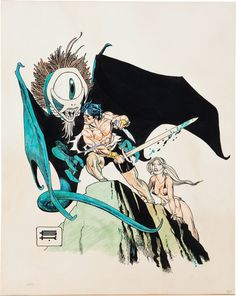 Original Comic Art:Illustrations, Gil Kane Hand Colored Sword and Sorcery Illustration Art(undated).... Image #1