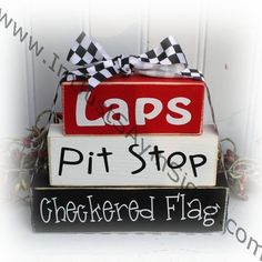 Laps, Pit Stop, Checkered Flag Race Fan Itty Bitty Stacking Blocks Laps Pit Stop Checkered Flag Race Fan Itty by ImJustSayinSigns Wood Block Crafts, Wood Blocks, Wood Crafts, Diy Crafts, Primitive Crafts, Diy Wood, Motocross, Blocks For Toddlers, Dirt Racing