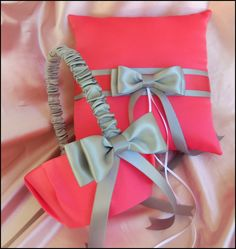 Coral and Gray Wedding Pillow and Flower Girl Basket, Coral Wedding Color Accessories. $60.00, via Etsy.