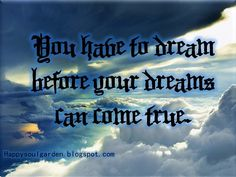 You have to dream