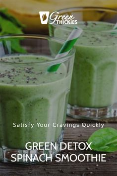 Your body is going to thank you for this green detox spinach smoothie. Believe me, this recipe actually tastes good as well as satisfying all of your cravings. St Patricks Day, Spinach, Cravings, Detox, Healthy Recipes, Green, Food, Essen, Healthy Eating Recipes