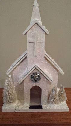 Shabby Chic Putz Inspired White Wooden Church by SimplyTheGlitter on Etsy
