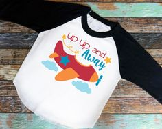 Up Up and Away Shirt - Adorable youth shirt for school. Raglan Shirt , baseball tee, saying shirt, Up Up and Away, Airplane