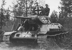 Soviet T-34 tank, captured and used by the Germans.