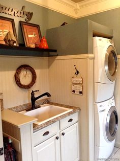 Utility Room (part 1) of the Northwyke Plan 759 - Maximize space with stackable washer/dryer, making room for a convenient utility sink http://www.dongardner.com/plan_details.aspx?pid=571 #utility #mudroom #homeplandesign
