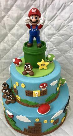 bolo super mario fake #bolomario #bolosupermario #festamario #mariobros Bolo Super Mario, Mario E Luigi, Projects To Try, Birthday Cakes, Desserts, Food, White Frosting, Cake Ideas, Whipped Cream