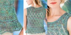 #19 LACE TANK Designed by Mari Tobita in Sylph from Jade Sapphire Exotic Fibres.