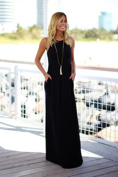 Back to basics! So happy that our Black Maxi Dress with Pockets is here again