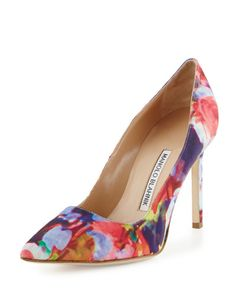 X2XG0 Manolo Blahnik BB Floral-Print Fabric 105mm Pump, Pink