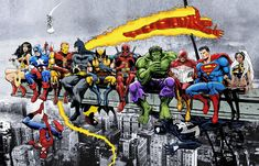 More Marvel & DC Superheroes Lunch Atop A Skyscraper - New art, more heroes! - Art Print/Poster Wall Art by AvenellArt on Etsy Marvel Wall Art, Marvel Canvas, Superhero City, Superhero Poster, Superhero Canvas, Superhero Room, Superhero Characters, Lady Shiva, Batman Vs Superman