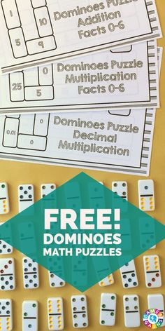 My students are going to LOVE this hands-on dominoes puzzle for practicing their addition facts, multiplication facts, and decimal multiplication. Maths Puzzles, Multiplication Facts, Math Facts, Math Fractions, Math Addition, Addition Facts, Math Resources, Math Activities, Third Grade Math