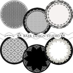 DIGITAL PRINTABLE DOILIES  My instant download Black and White Lace and Burlap Circles and Digital Paper Collection is perfect for creating