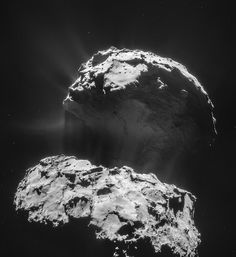 Comet 67P: Looking Back | Rosetta Comet Mission | ESA This four-image mosaic comprises images taken from a distance of 28.7 km from the centre of Comet 67P/Churyumov-Gerasimenko on February 3, 2014. These are the last images taken by Rosetta's NAVCAM before the spacecraft left its bound orbit around the comet at 28 km from the center. On February 4, Rosetta moved into a new operating phase characterized by a series of flybys past 67P/C-G at a range of distances..