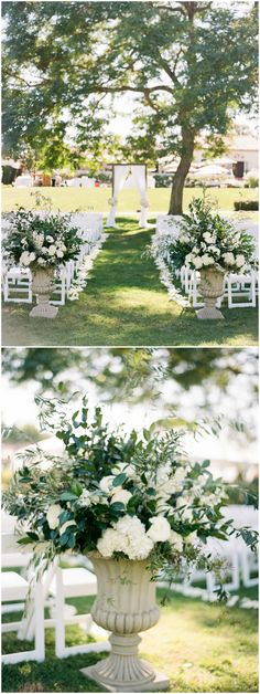 Outdoor wedding ceremony decor, large white floral arrangements, romantic, flowers flanking the aisle // Bryan N. Miller Photography