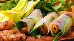 Chargrilled pork sausage skewers (nem nuong) recipe : SBS Food