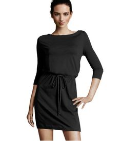 simple cotton, black dress. add a statement necklace, scarf or chunky jewelry to dress it up.