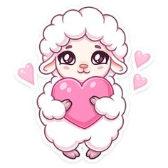 Telegram Sticker from collection «Марта Cute Animal Drawings Kawaii, Cute Kawaii Animals, Cute Drawings, Eid Stickers, Cool Stickers, Sheep Illustration, Theme Mickey, Sheep Cartoon, Valentines Illustration