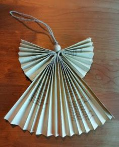 Armholes: Paper angel made from recycled materials Christmas Makes, Christmas Angels, Christmas Tree Ornaments, Christmas Holidays, Hobbies And Crafts, Diy And Crafts, Crafts For Kids, Handmade Christmas Decorations, Xmas Decorations