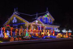 """Christmas House"" by Garry Gay - Holiday Decorations Christmas Lights Outside, Christmas House Lights, Xmas Lights, Decorating With Christmas Lights, Christmas Mood, Outdoor Christmas Decorations, Holiday Lights, All Things Christmas, Gay Christmas"