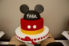Check out this cake at a Mickey Mouse birthday party! See more party planning ideas at CatchMyParty.com!