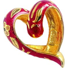 Nolan Miller- Signed Slide/Pendant Cloisonné Red Enameled Heart With Flowers