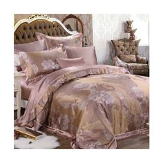 Noble Flower Jacquard Contrast Color Mulberry Silk Bedding Sets ($1,902) found on Polyvore