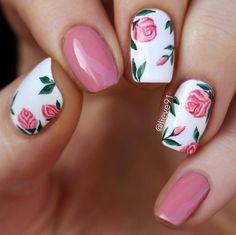 you should stay updated with latest nail art designs, nail colors, acrylic nails… – Beauty ideas Different Nail Designs, Pink Nail Designs, Nail Designs Spring, Rose Nail Design, Nails Design, Flower Nail Designs, Nails With Flower Design, Nail Design For Short Nails, Tropical Nail Designs