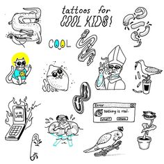 Tattoos for cool kids ✌😎👟🚬 Designs up for grabz. If you're cool enuff 💁 Tattoo Flash Sheet, Tattoo Flash Art, Line Art Tattoos, Love Tattoos, Doodle Tattoo, Doodle Art, Tattoo Sketches, Tattoo Drawings, Photographie Street Art