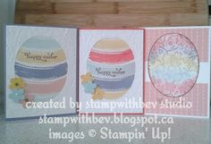 handmade Easter cards from Stamp with Bev ... oval die cuts ... negative space with watercolor swashes or embossing folder texture lightly spnonged ... Stampin' Up!