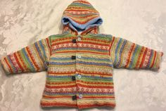 Clayeux 18 Month Girl Boy Jacket Knit Coat Hood Multicolored France Striped  | eBay