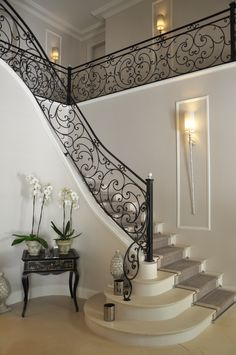 Classical entrance with Pieter Adams wall lamps Wall Lamps, Switzerland, Entrance, Stairs, Interiors, House, Home Decor, Entryway, Stairway