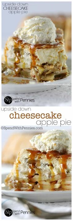 Upside Down Cheesecake Apple Pie! This really is the most amazing dessert ever!… Upside Down Cheesecake Apple Pie! This really is the most amazing dessert ever! Cheesecake and apples make the most amazing pie filling wrapped in a flaky crust! Apple Pie Recipes, Apple Desserts, Cheesecake Recipes, Fun Desserts, Sweet Recipes, Delicious Desserts, Dessert Recipes, Yummy Food, Apple Cheesecake