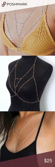 BRALETTE BODYCHAIN gold bikini necklace JEWELRY New! Sexy body chain in a bralette design outline. In GOLD, light weight. Lobster clasp closures. So fierce under bathing suits, low hanging tops, dresses of all types, even button down shirts. Knock them dead with this alternative to the standard necklace. Resort wear must! j5 Nasty Gal Jewelry Necklaces