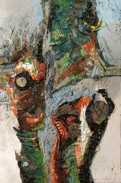 Tesselles en liberté - Maison de la Mosaïque Contemporaine | Use this as inspiration for a new journal series on abstract mosaics.