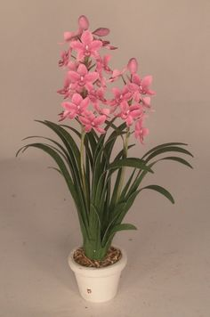 Cymbidium Orchid Pink by Karl Blindheim - $175.00 : Swan House Miniatures, Artisan Miniatures for Dollhouses and Roomboxes