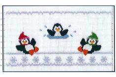 Smocking plate with three penguins playing in a pond. 10 rows of smocking on a yoke. Smocking Plates, Smocking Patterns, Stitch Patterns, Fire Pit And Pond, Fire Pits, Smocked Baby Clothes, Frozen Pond, Baby Sewing, Sew Baby