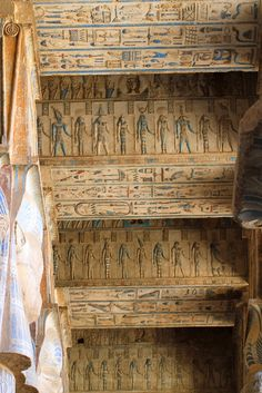 This is a temple in Egypt. Temples are usually covered in drawings or symbols similar to this one.
