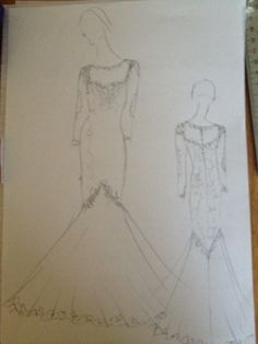 A sketch of one of our bespoke wedding dress. Dressmaker, Weddingideas, Bespoke, Wedding Gowns, My Design, Sketches, Weddings, Bride, Art