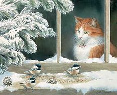 Susan Bourdet - cat and chickadees