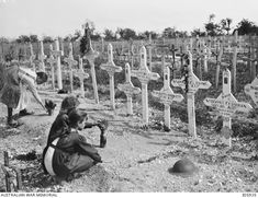 French Children Tending Graves at Adelaide Cemetery of Australians Killed in Battle on the Western Front WWI World War One, First World, Casualties Of War, Cemetery Headstones, Unknown Soldier, Anzac Day, Military Art, World History, Wwi