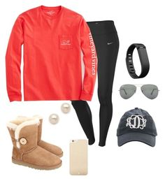 """""""Long car ride"""" by preppy13 ❤ liked on Polyvore featuring NIKE, UGG Australia, Vineyard Vines, Kate Spade, Juliet & Company, Ray-Ban and Fitbit"""
