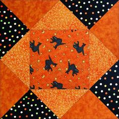 A great easy to make pre-cut quilt kit for anyone that loves Halloween, festive holiday quilts, black cats, or just cats in general, pets, the color orange, and